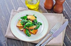 sweet potato with spinach - stock photo