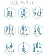 Vector set of fishing hooks line icons with different knots. Fisherman symbols Piirros