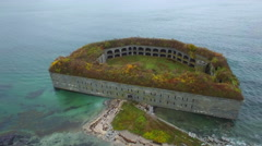 Aerial video Fort Gorges Portland ME 4 Stock Footage