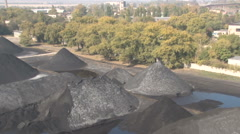 Mined coal, lying on the ground Stock Footage