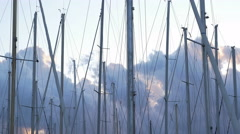 Yacht masts at sunset. Palermo, Sicily, Italy. Stock Footage