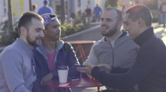 Stock Video Footage of Gay Couples Enjoy Coffee In The Castro, San Francisco, Take Selfie Together