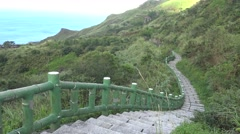 4K landscape of long stairs in the TeaPot Mountain in Jinguashi town, Taiwan-Dan Stock Footage