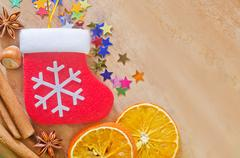 Aroma spice and christmas background Stock Photos