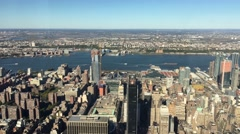 New York City. 4K aerial view of skyscapers on a beautiful sunny day Stock Footage