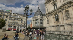 View of the Le BHV Marais department store, next to the City Hall of Paris Stock Footage