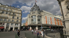 Le BHV Marais department store on Rue de Rivoli, Paris - stock footage