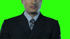 facial expression on the face of a man in a tie Green Screen - stock footage