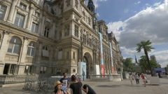 Walking in front of City Hall in Paris Stock Footage