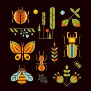 Nature, Insects and Tree Icons Vector Illustration - stock illustration