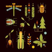 Nature, Insects, Leaves and Tree Icons Vector Illustration Stock Illustration