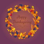 Autumn Thanksgiving Banner with Leaves and Black Berries - stock illustration