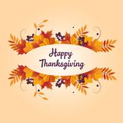 Autumn Thanksgiving Banner with Leaves and Black Berries Stock Illustration