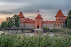 Trakai Island Castle in Lithuania next to Vilnius - stock photo