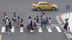 4K people and traffic in the street near to the metro of Taipei, in Taiwan-Dan Stock Footage