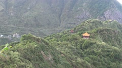 4K Chinese pavilion view from the TeaPot Mountain in Jinguashi town, Taiwan-Dan Stock Footage