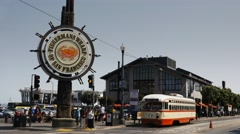 Red and white tram fishermans wharf Stock Footage