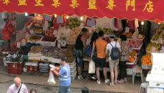 Local Fresh Market , Wan Chai, Central District. View from above. Long shot. Stock Footage