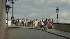 Tourists walking in the Prague Castle Complex Stock Footage