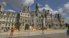 Sand volleyball in front of the City Hall of Paris Stock Footage