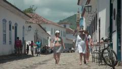 Street scene in Paraty, Brazil Stock Footage