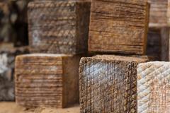 Ancient mountain cheese preparation Stock Photos