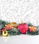 Christmas decorations on a silvery background - stock photo