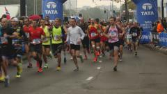 Runners at marathon Amsterdam 2015 Stock Footage