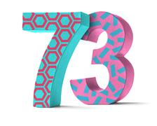 Colorful Paper Mache Number on a white background  - Number 73 - stock photo