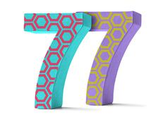 Colorful Paper Mache Number on a white background  - Number 77 Stock Photos