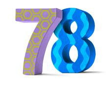 Colorful Paper Mache Number on a white background  - Number 78 - stock photo