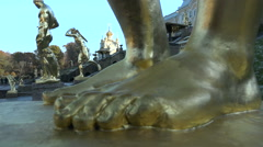 The statue in front of the Big Peterhof Palace Stock Footage