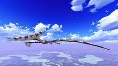 Huge pterodactyl over land Stock Illustration