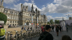 Activities in City Hall Plaza, Paris Stock Footage