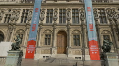 City Hall's entrance in Paris Stock Footage