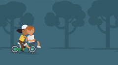 Boy And Girl Jogging And Riding Bike Stock Footage