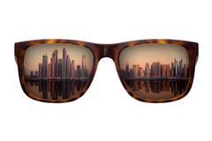 Trendy sunglasses with beautiful panorama of Dubai Stock Photos