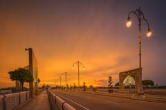Landscape of modern bridge at sunrise, Putrajaya Stock Photos