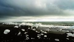 Time-lapse of Ice Beach near Jokulsarlon glacial lagoon, Iceland. Stock Footage