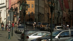 Street with old buildings in Prague Stock Footage
