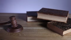 paragraphs and books, mallet, law and justice concept - stock footage