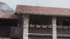 House detail with balcon and flowers Stock Footage
