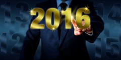 Manager Introducing A Golden New Year 2016 Stock Photos