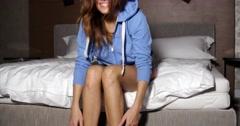 Sensual Happy Girl in Her Bedroom Stock Footage