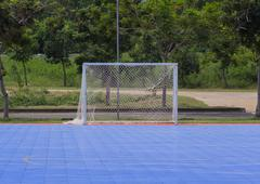 Goal post in futsal court Stock Photos
