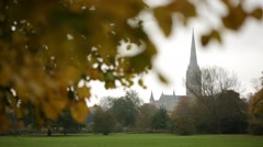 Salisbury Cathedral Golden Autumn Stock Footage