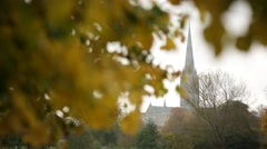 Golden Autumn: European Cathedral (Salisbury Cathedral, England) Stock Footage