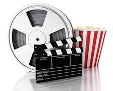3d Cinema clapper, Film reel and popcorn. - stock illustration