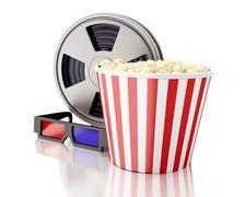 Stock Illustration of 3d Film reel and popcorn.