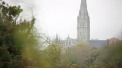 Salisbury Cathedral in the golden trees, European Cathedral bokeh - stock footage